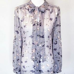 Express Sheer Lilac Button Down Blouse